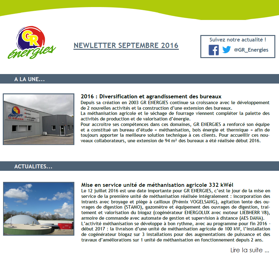 Newsletter SEPTEMBRE 2016 - GR ENERGIES